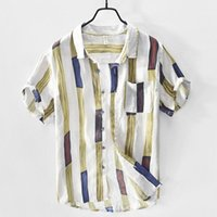 Men's Casual Shirts Men Clothing 2021 Summer Style Color Striped Shirt Fashion Plus Size Camisas Para Hombre