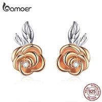 Bamoer Authentic 925 Sterling Silber 3D lebendige Rose Blume Ohrstecker für Frauen Anti-Allergy Modeschmuck New BSE327 210323