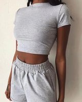 Women's Two Piece Pants New fashion solid color tight exposed navel sexy casual sports suit