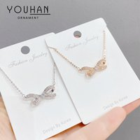 Korean Style Super Fairy High-Grade Bow Titanium Steel Necklace Female Graceful Personality Ins Popular Net Red Same Style Necklace Wholesal