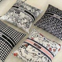 Новая роскошная подушка бренда декоративная подушка дизайнерская подушка с D буквы модные подушки хлопчатобумажные чехлы дома 2108103L