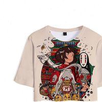 Miyazaki Hayao Bayan T Gömlek Spirited Away Anime Film Ogino Chihiro 3D Bitkileri Kız Kısa Kadınlar Seksi Satış Rahat