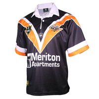 2000 Wests Tigers Retro Rugby Jersey Suburbios Occidental Suburbios Clásicos Vintage Camisa Hogar Tamaño S-3XL