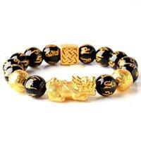 Оптовая Очарование Счастливый Фортуна Натуральный Feng Shui Black Obsidian Pixiu Браслет для мужчин и женщин