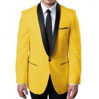 Kundenspezifische Männer Anzüge gelb und schwarz Bräutigam Tuxedos Schal Revers Bräutigamsmänner 2 Stück Hochzeitster Mann (Jacke + Pants + Krawatte) D101