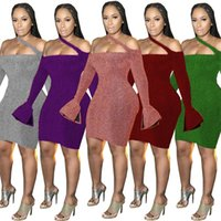 Women mini casual dresses summer fall clothing sexy club elegant off shoulder long sleeve strapless backless sheath column holiday party dress stylish 01577