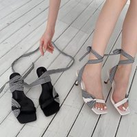 Sandals Big Size 42 Sexy High Heels Summer Square Open Toe Women's Ankle Strappy Party Club Brand Vintage Gladiator Shoes