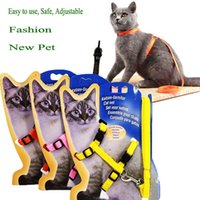 Fashion Cat Dog Collar Harness Leash Adjustable Nylon Pet Traction Kitten Halter Cats Products For Belt Collars & Leads