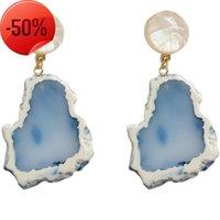 الأزياء الإبداعية هندسية غير النظامية الرخام نمط الراتنج حجر القرط الاكريليك قطرة للنساء مجوهرات هدية بالجملة