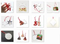 16 styles Sublimation Pendants Thermal Transfer Benelux Christmas Ornaments Decorations MDF Blank Round Square Snow Shape Heat Printing Tree Pendant Decors