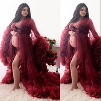 2021 Sexy Maternity Dresses for Photoshoot or Babyshower Pregnant Evening Gowns Designer Shooting Dress Burgundy Long Sleeves Prom Gown
