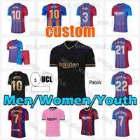 Messi Jersey 2021 2022 Barcelona Futbol Formaları Pedri Messi Ansu Fati Camiseta Futbol Griezmann De Jong Kun Aguero Maillots Ayak Top Tayland Futbol Gömlek 20 21