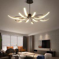 Chandeliers Modern Long Swing Arm Led Chandelie Adjustable Spider Chandelier Black   White Attic Glossy Living Room Bedroom Lamps