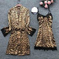 Youyedian 2019 Fahsion Sexy Womens Satin Sling Lace Leopard Sleepwear Ropa Lencería Robe Camis Albornoz Nightwear Set Z6DO #