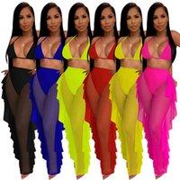 فساتين عادية 4250 ملابس السباحة في الربيع والصيف المرأة النقي اللون شبكة السراويل مجموعة من قطعتين ملهى ليلي مع الملابس الداخلية