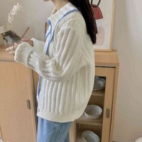 Women's Sweaters Female thick Korean knitted cardigan, baggy jacket with long yellow sleeve for autumn and winter RQFL