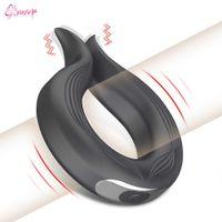 Neue 10 Geschwindigkeit Penis Ring Vibrator Für Männer Verzögerung Ejakulation Erotische Männliche Sex Spielzeug Keuschheit Hahn Ring Dildos Vibration für Gay Erwachsene CX200722