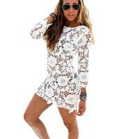 Oioninos 2021 круглые шеи сексуальные кружевные крючком бикини блузка пляжное платье 9077 женские купальники