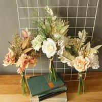 Decorative Flowers & Wreaths INS Artificial Flower Rose Hydrangea Head Bouquet Fake For Home Bride Wedding Decoration Autumn Leaves Silk