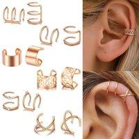 Stud 12pcs set 2021 Fashion Gold Color Ear Cuffs Leaf Earrings Women Climbers No Piercing Fake Cartilage Earring Jewelry