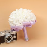 신부 결혼식 꽃다발 거품 인공 수제 꽃 선물 인공 꽃 손 꽃다발 장미 신부 결혼식 용품 RRD7327