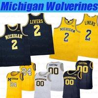 Custom NCAA Michigan Wolverines College Basketball # 3 Zeb Jackson # 15 Chaundee Brown Jr. # 21 Franz Wagner Trikots