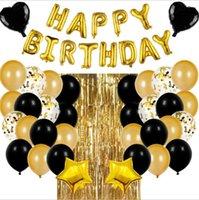 Black Gold Metal Latex Ball Party Dekoration 16 Zoll Goldene Happy Birthday Brief 2 stücke 18 Zoll Stern und Liebe 4 Farben können ausgewählt werden