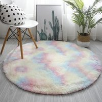 Carpets Pink Shaggy Tie-dye Round Carpet Colorful Fluffy Alfombra Circles Coffee Table Blanket Bedroom Hanging Basket Yoga Rug