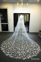 Voiles de mariée Chapelle tulle douce personnalisée avec cercle voile blanche / ivoire pour cristaux de mariage papillon 3D