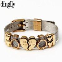 Charm Bracelets DINGLLY Two-tone Silver Stainless Steel Mesh For Women Men Golden Love Beads Brands Bracelet & Bangles Gifts