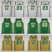İrlanda St. Vincent Mary Formalar Erkekler Basketbol Lisesi Lebron 23 James Jersey Erkekler Yeşil Beyaz Uzakta Takım Spor Nefes