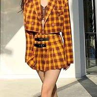 Two Piece Dress Ricaqico Womens Blazer And Skirt Set Korean Style Autumn Retro Short Orange Suit Plaid Jacket Skirts Suits