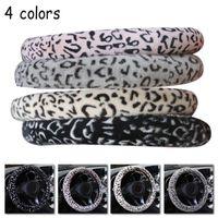 Cubiertas de volantes Cubierta de coche con estampado de leopardo de felpa Invierno cálido 37-38cm Decoración interior universal