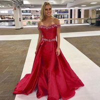 Party Dresses Red Mermaid Evening Crystal Beading Satin Floor Length Off The Shoulder Purple Formal Prom Pageant Gowns