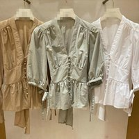 Spring Summer Japan Style Fashion Women Shirt All Match V Neck Single Breasted Blouse Chic Back Drawstring Bow Blusas