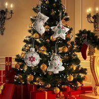 Árvore de pingente de linho de Natal Impresso pequena cinta ornamento-cinco-pontiagudas Star Star Ball Mall Decoração Pano embelezamento DWE10662