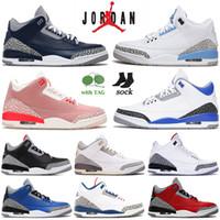 Sapato Nike Air Jordan Retro 3 Jumpman Jordans 3 III Tênis de basquete masculino feminino Georgetown UNC Racer Blue Rust Pink Black CAT Knicks Rivals Sapatilhas de tênis esportivas
