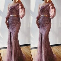 Luxury Mermaid Evening Dresses Crystal Beaded One Shoulder Long Sleeves Prom Dress With Side Split Formal Party Gowns