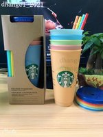 24OZ Color Change Tumblers Plastic Drinking Juice Cups With Lip And Straw Magic Coffee Mug Costom Starbucks color changing plastic cup Free DHL