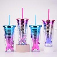 350ml gradiente gradiente caneca copo caneca dupla parede plástica lantejoulas copo de palha criativa xícaras de Natal presente dwf10254