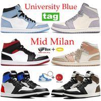 2021 University Blue Hid Mid 농구 신발 시카고 실버 발가락 어두운 모카 가벼운 연기 회색 체육관 빨간색 검은 흰색 스니커즈 남자 여성 트레이너