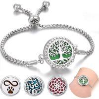 Charme bracelets aromathérapie creusé en acier inoxydable couplier couplier couplant femme bijou de vie arbre parfum arbre huile essentielle
