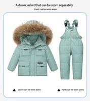 Infant down jacket suitParka Real Fur Hooded Boy Baby Overalls Girl Winter Down Jacket Warm Kids Coat Children Snowsuit Snow Clothes Girls Clothing Set