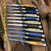 9 인치 이탈리아어 마피아 전술 자동 칼 440C 새틴 단일 블레이드 합금 핸들 캠핑 사냥 포켓 나이프