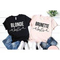 Okoufen Blonde T-shirt Cheveux noirs Femme Casual Top Cravate avec les amis de tee bestie