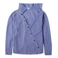 Women Fashion Long Sleeve Turn Down Collar Stripes Office Shirt Cotton Blouse Blouses Elegant Plus Size 2021 Women's & Shirts