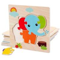 أطفال خشبية 3d لغز لعبة التعليم المبكر الكرتون الحيوان تعلم بانوراما لغز لعبة الخشب للأطفال من 2 إلى 4 سنوات