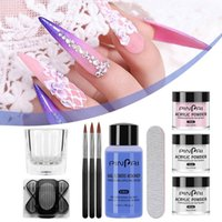 Nail Glitter Art Acrylic Powder Gel Polish Set Crystal Kit Liquid With Brush File Nails Decoration Extension Manicure