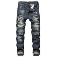 Мужская мода Slim Fit Личность прямо повседневная разорванные джинсы джинсовые штаны джинсы мужчины тощие мужчины Vaqueros Hombre