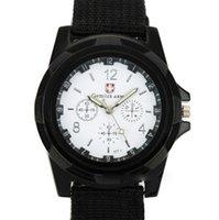 Armbandsur Gemius Army Racing Force Militär Sport Mens Fabric Band Watch Vit Stål Armband Quartz # 4a21